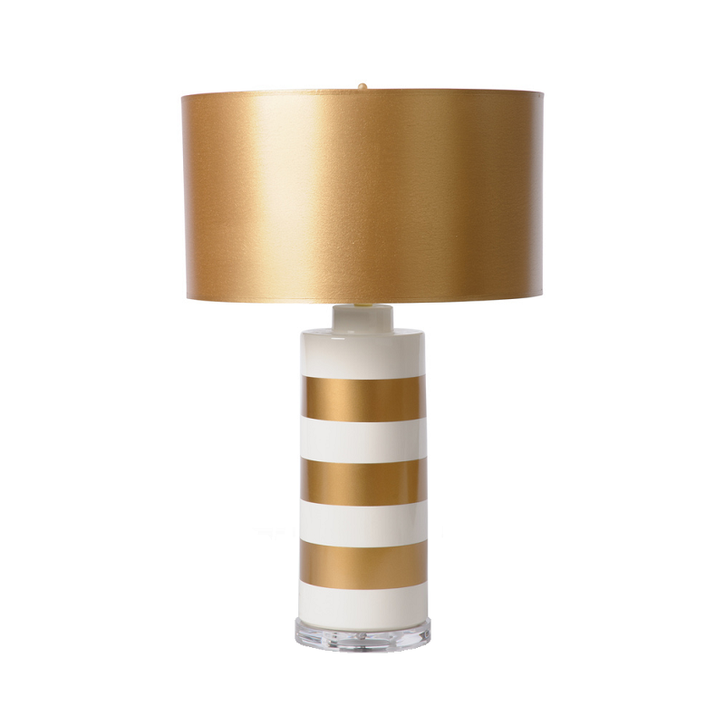 TL151-000 - White & Gold Stripes Table Lamp