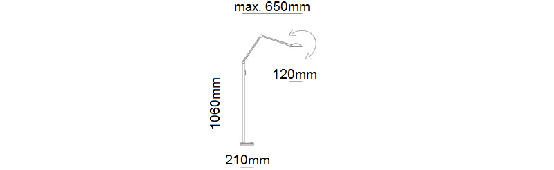P-1139 Reading Lamp Dimensions