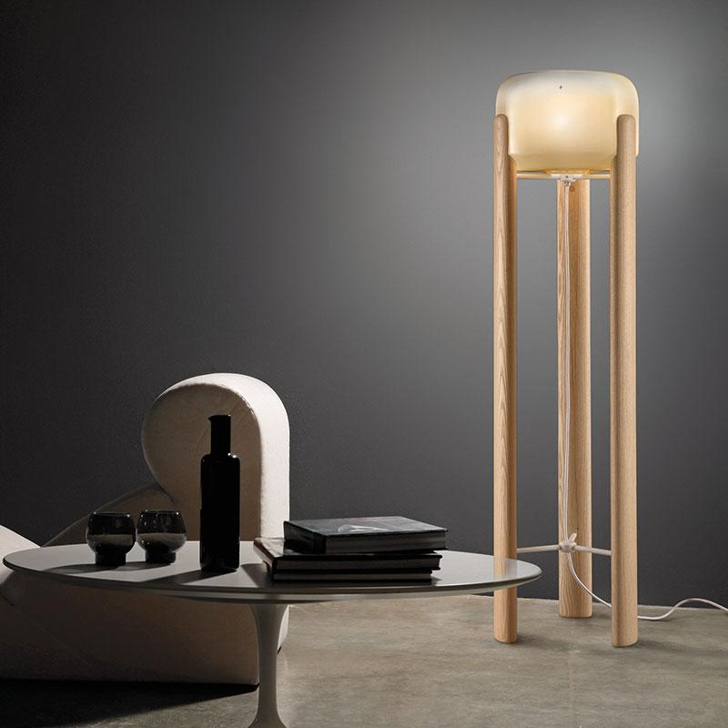 Sata Floor Lamp Natural & Amber