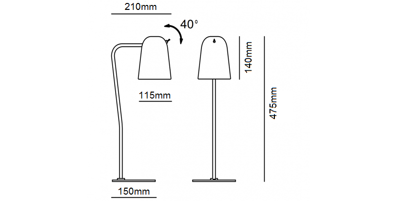Dobi Table Lamp Dimensions