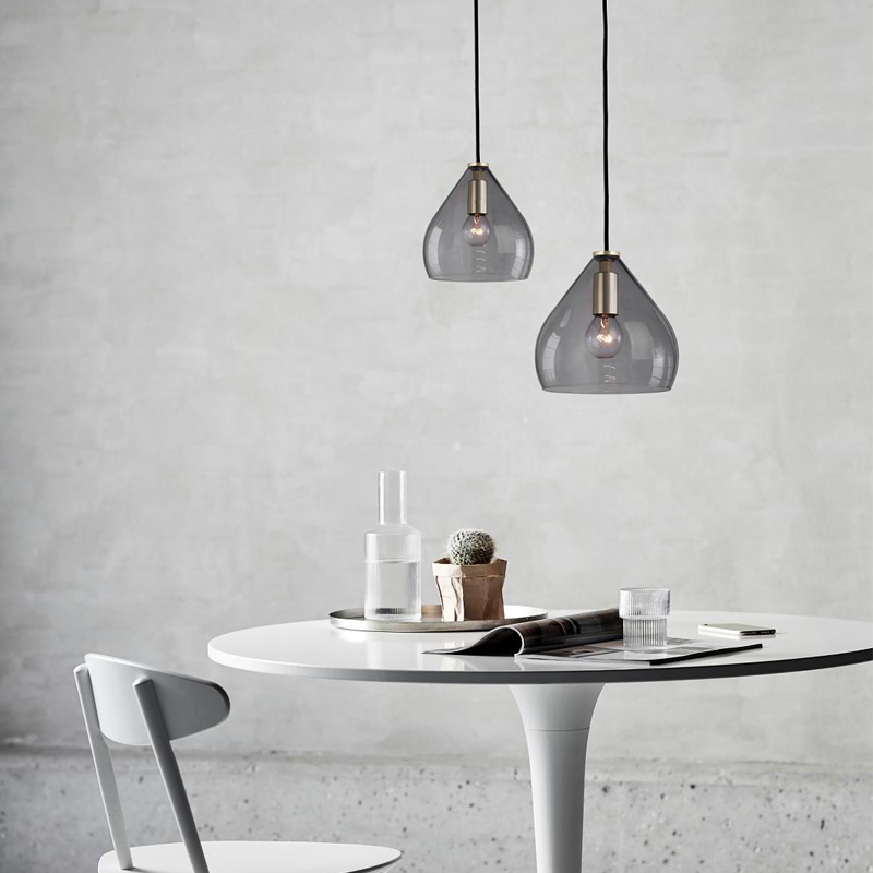 Smoke Grey Glass Pendants