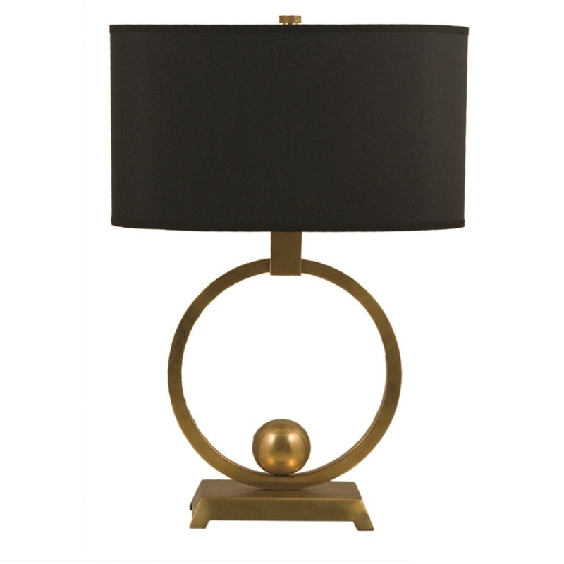 Brass Circle Table Lamp & Shade