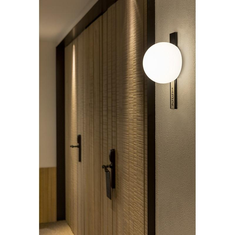 Circ Black Wall Light with custom room number