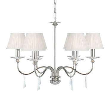 Finsbury Park 6 Light Polished Nickel with shades