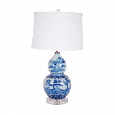 TL149-010 Blue & White Double Gourd Lamp Base & Shade