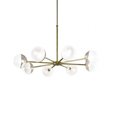 Molecola 8 Light Chandelier Natural Brass