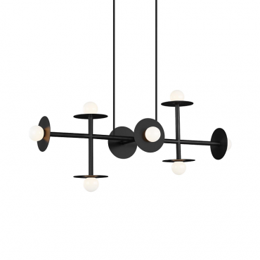 Nodes 8 Light Linear Pendant - Black